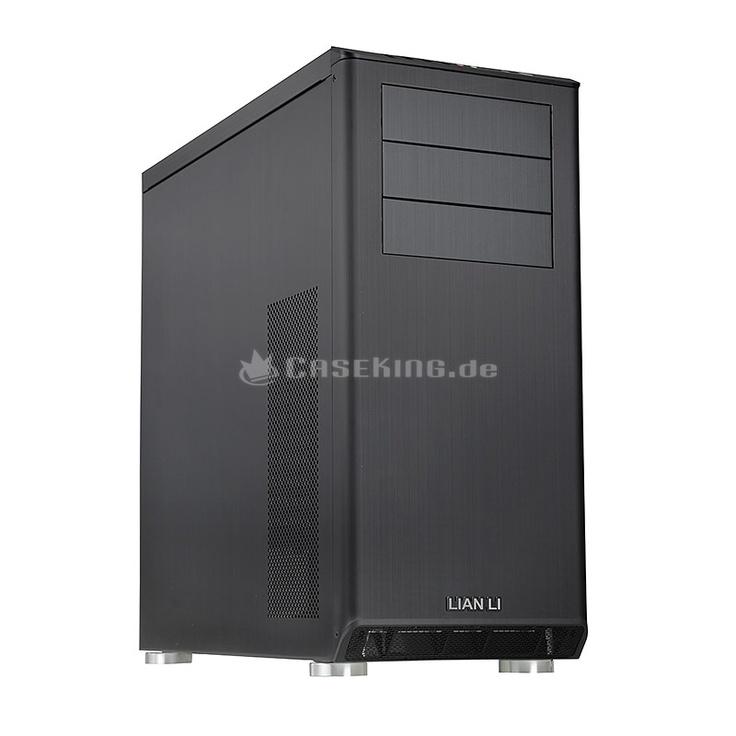 Lian Li PC-Z60 Midi-Tower in schwarz. Das PC-Z60 ist das Midi-Tower-Modell der Serie und entsprechend für Mainboards bis zum Standard-ATX-Format ausgelegt. Die Front ist komplett geschlossen und lässt daher das edel gebürstete Aluminium hervorragend zur Geltung kommen. Neben den drei Laufwerksöffnungen fällt vor allem das angeschrägte Bedienfeld samt I/O-Panel ins Blickfeld, welches sich am Übergangsbereich zum Deckel befindet. Hier stehen neben Audio und eSATA auch drei moderne USB 3.0 ...