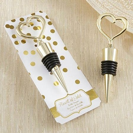Gold Heart Wine Bottle Stopper Favors - Wedding | Bridal Shower | Engagement | Anniversary