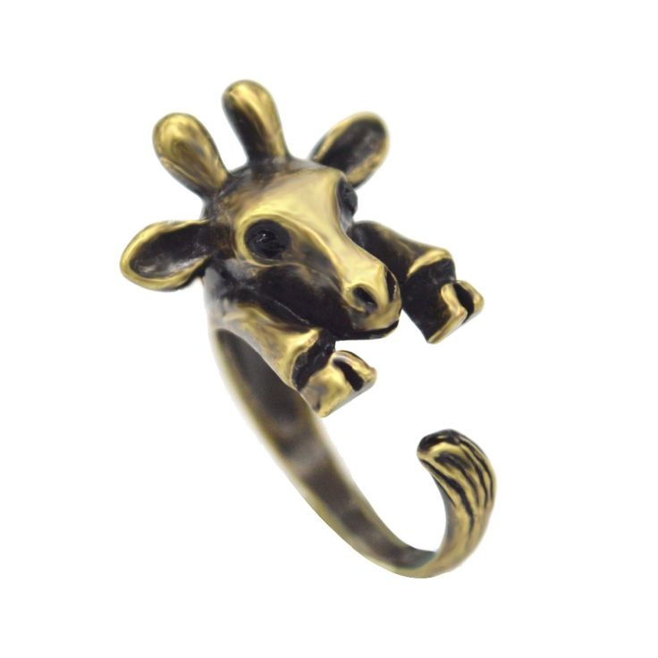 Adjustable Giraffe Animal Rings for Women Girls Unique Wedding Beautiful Christmas Pet Lover Gift Fashion Statement Jewelry