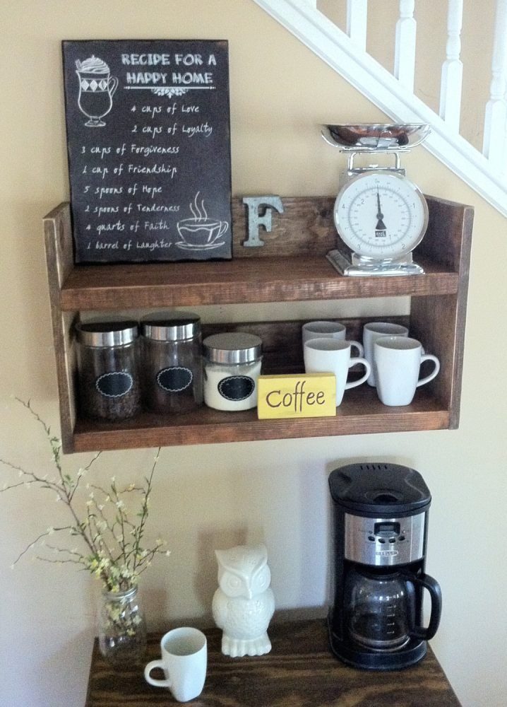 20 Mind Blowing Diy Coffee Bar Ideas And Organization Ideas That Will Blow Your Mind Cuethat Coffee Bar Home Coffee Shelf Rustic Kitchen