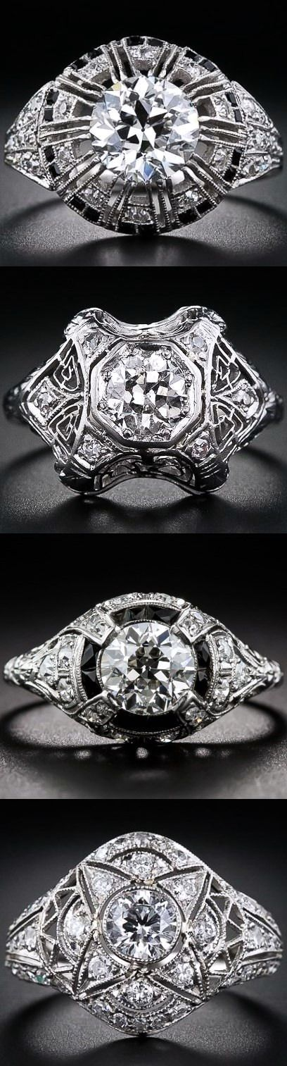 Art Deco Platinum and Diamond Rings.