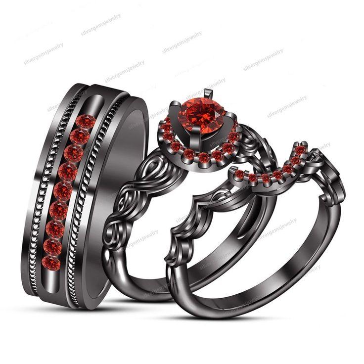Bride & Groom Red Garnet Wedding Trio Ring Set in Black Gold Finish 925 Silver #Silvergemsjewelry #WeddingEngagementAnniversaryBrithdayGiftGift