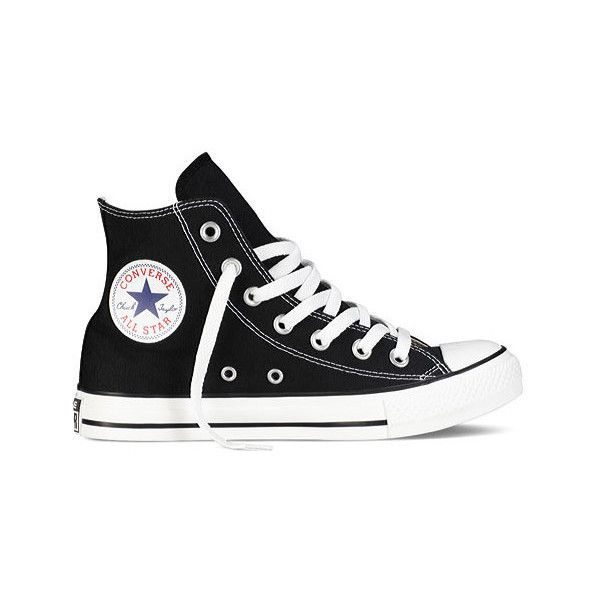 Converse Chuck Taylor All Star High Top Sneaker found on Polyvore featuring shoes, sneakers, converse, black, canvas sneakers, black sneakers, black high top shoes, black hi tops and black shoes