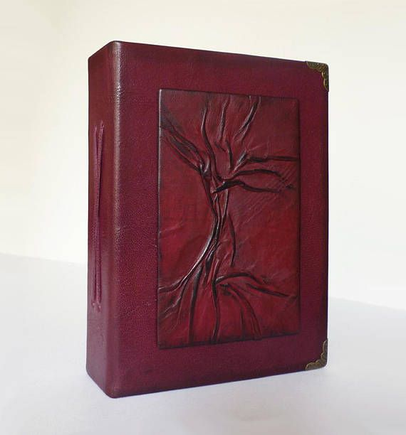 Leather Photo Album 4x6 Burgundy Tree of Life Christmas