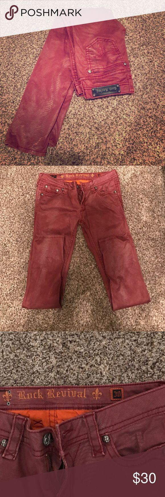 Maroon Python Rock Revival Skinny Jeans Maroon python print Rock Revival Skinny Jeans. Size 30. Ankle length. Rhinestones on pockets. Very cute! Rock Revival Jeans Skinny