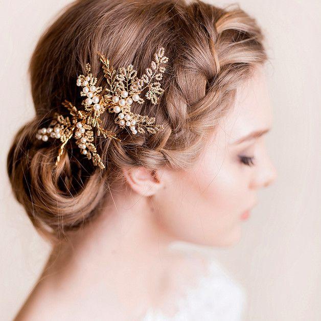 Kawałek Ślubnych Włosów Vintage Chic - Złoty - Florentes - Akcesoria do włosów