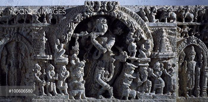 Venugopala, relief from Halebidu, India. Detail. Indian Civilisation, Hoysala Empire, 12th century.