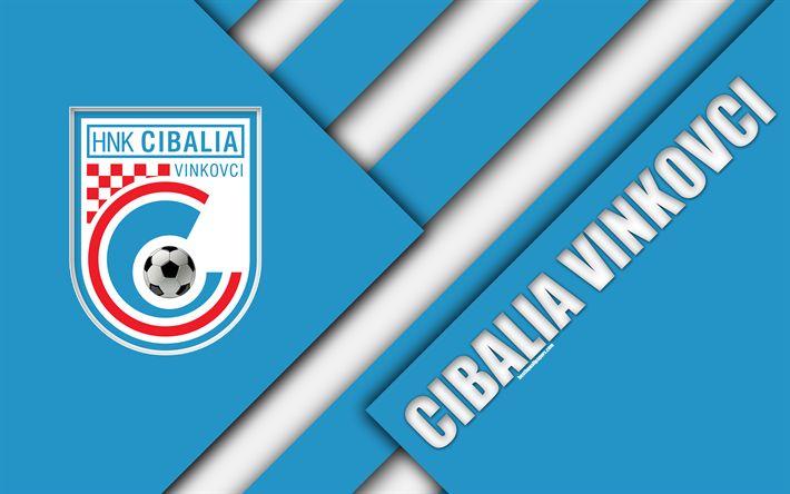 Download wallpapers HNK Cibalia Vinkovci, 4k, Cibalia FC, blue white abstraction, logo, material design, Croatian football club, Vinkovci, Croatia, Prva HNL, football, Croatian First Football League