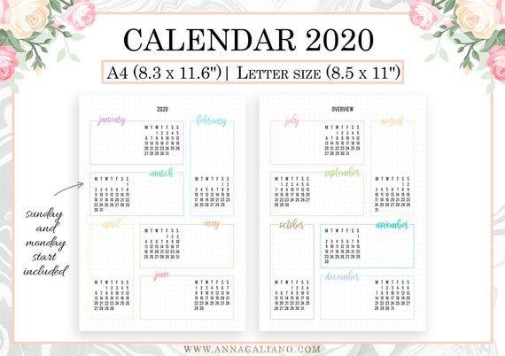 2020 calendar printable  year at a glance 2020  2020