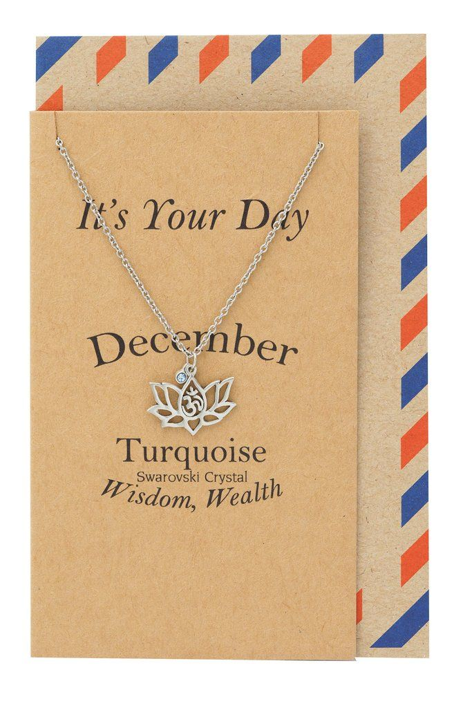 December Birthday Cards Lotus Flower Birthstone Necklace And Om