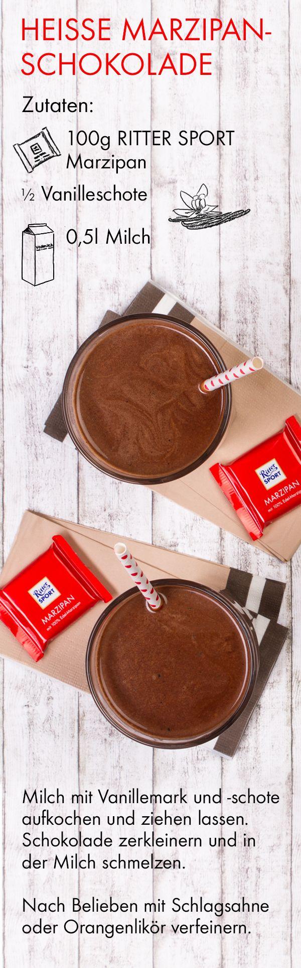 Heiße Schokolade kann jeder, aber heiße Marzipanschokolade kann nur RITTER SPORT. ;-) Hier gibt's das leckere Rezept zum Nachmachen.