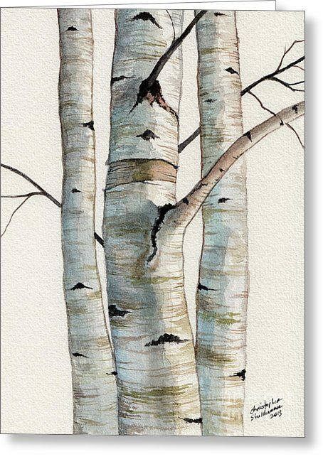 Three Birch Trees Greeting Card by Christopher Shellhammer