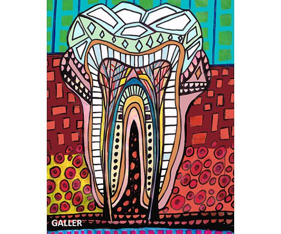 Surreal tooth Art Art Print Poster by Heather by HeatherGallerArt