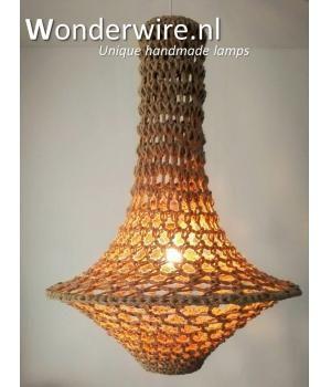 Unieke handgemaakte design hanglamp – gehaakte  Jute kroonluchter  – 80x60cm – Ibiza style  ontwerp