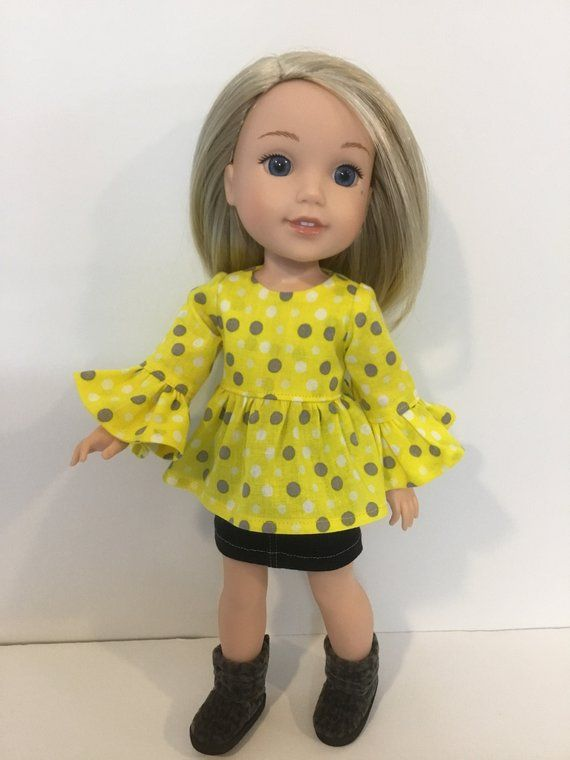 """Doll Clothes 14.5/"""" Skirt Jean Top Boots Fits 14.5/"""" AG AG WELLIE WISHER DOLLS"""