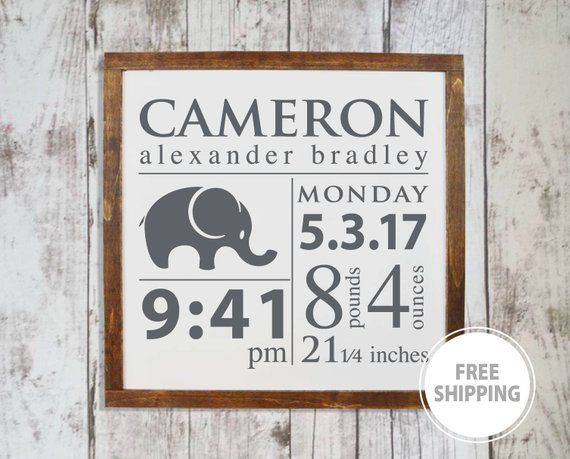 Baby Birth Stats Wall Art Woodland Nursery Decor Personalized Baby