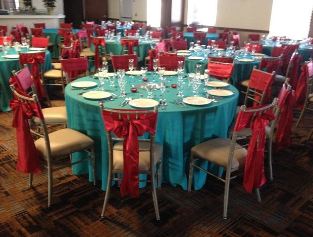 Aqua Turquoise Apple Red Wedding Décor Linen Rentals Table Covers Sashes Ties Signature Banquets Lowell Indiana Northwest Indiana