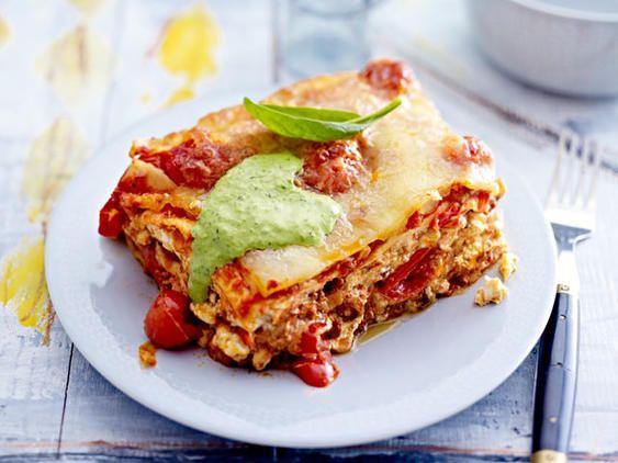 Lasagne mit Spinat-Soße