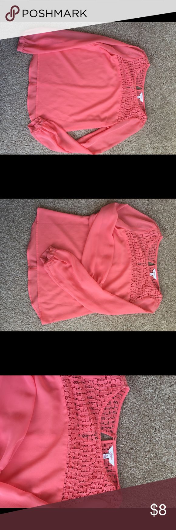 Cute Coral Blouse Size Small like new coral blouse. Sheer sleeves lovely top detail Candie's Tops Blouses