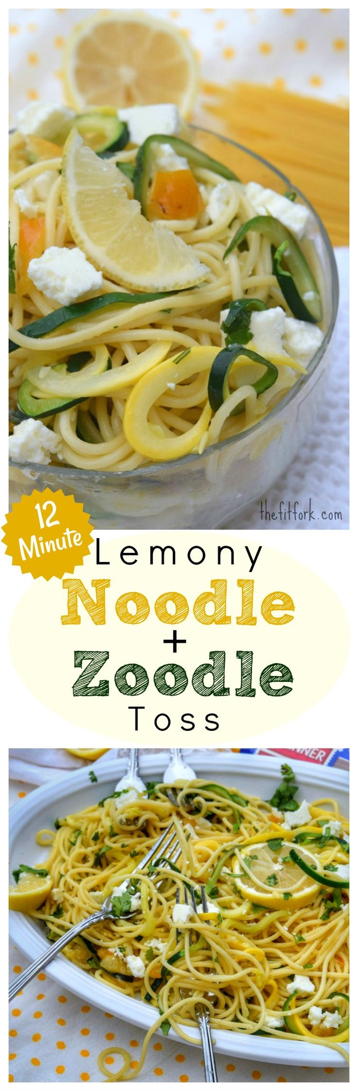 12 Minute Lemony Noodle Zoodle Toss - this pasta and squash dish is super easy and comes together in one part in just the short time it takes to boil the noodles. Great as a side dish or paired with your favorite lean protein for lunch or dinner. Made with @skinnerpasta the #1 Pasta in Texas! AD