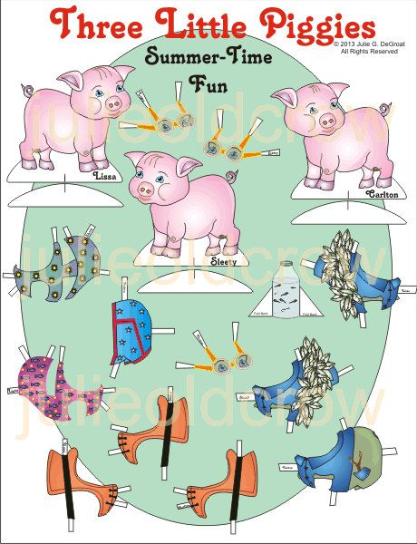 Three Little Piggies Paper Doll Two-Page Set to Download and Print
