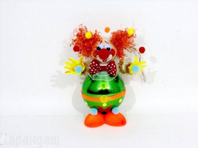 """Ёл.украшение """"Клоун с шариками"""" h-11 см в пластиковой упаковке КУ-51 - Фигурки на елку - Елочные украшения - Новый год"""