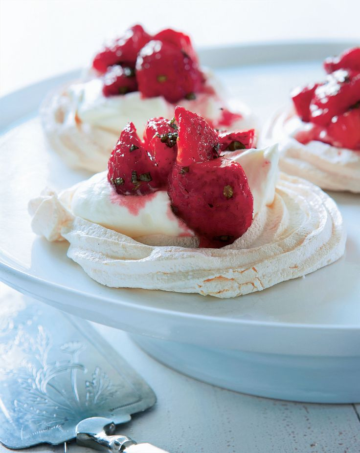 Meringues with strawberry-mint salsa recipe from The Scandinavian Cookbook by Trine Hahnemann | Cooked