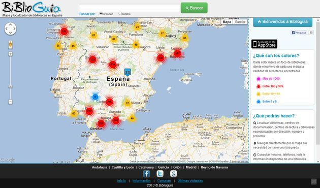 BiblioGuia, práctico mapa para localizar bibliotecas en España