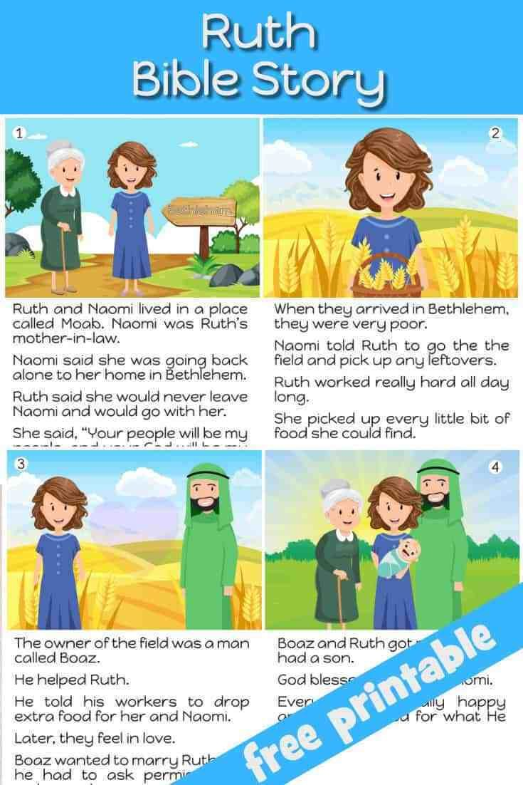Free Printable Ruth Bible Story For Kids Great To Review Or Use