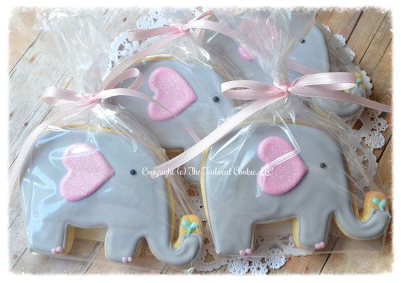Elephant Baby Shower Shortbread Sugar Cookie by TheTailoredCookie, $48.00