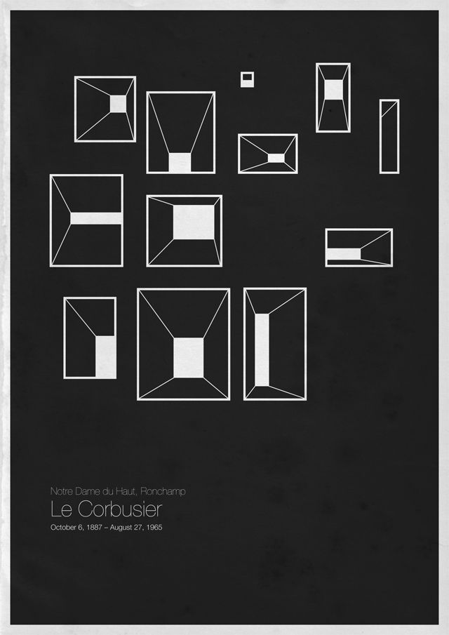 6 architectes modernes en affiches minimalistes - La boite verte