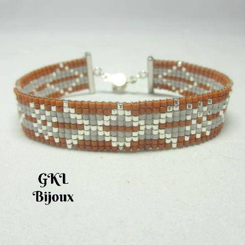 Regular Miyuki beads woven bracelet, orange, grisperle and silver plated, silver color effect, geometric pattern brings out as a relief pattern Width 1.5 cm Miyuki type delica glass beads Clasp - silver Metal pressure Wrist circumference: 18 cm - plus size large which can be adjusted on