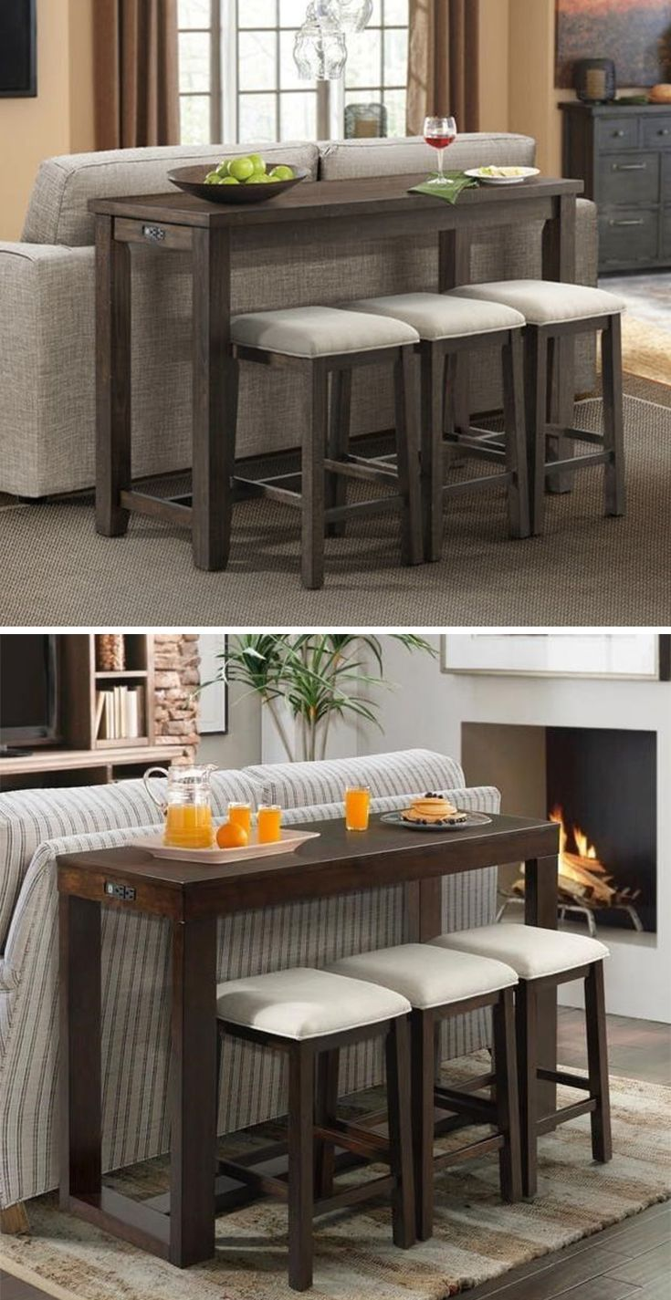 Place This Bar Height Table And Stool Set Behind A Sofa Or Against