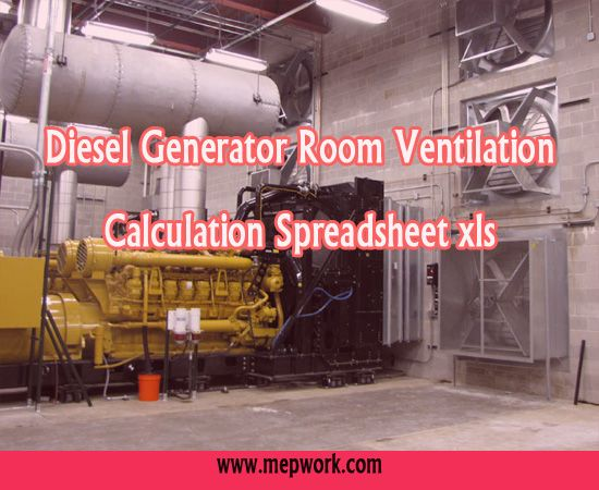 Diesel Generator Room Ventilation Calculation Spreadsheet