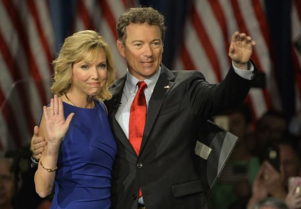 Sen. Rand Paul (R-KY) and his wife Kelley wave to the crowd after Rand announced his plan to run for President on April 7, 2015 in Louisville, Kentucky. Paul officially announced his 2016 presidential campaign for the President of the United States during the event. Photo by Jamie Rhodes/UPI