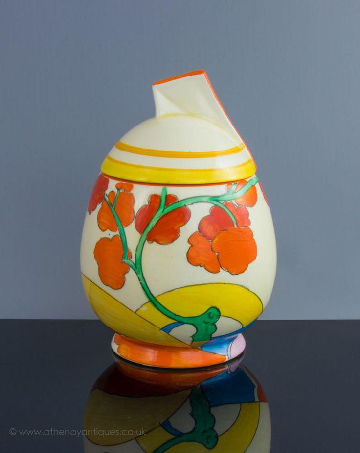Clarice Cliff Bizarre Bridgewater Pattern Daffodil Shape Preserve/Jam Pot c 1934