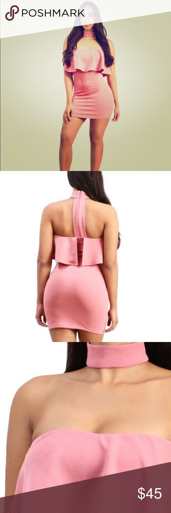 Pink bodycon dress Off the shoulder bodycon dress with choker. Zip up in the back. I have small medium and large. Follow me on IG: AngelaBrown.86 for more specials and deals. Dresses Mini