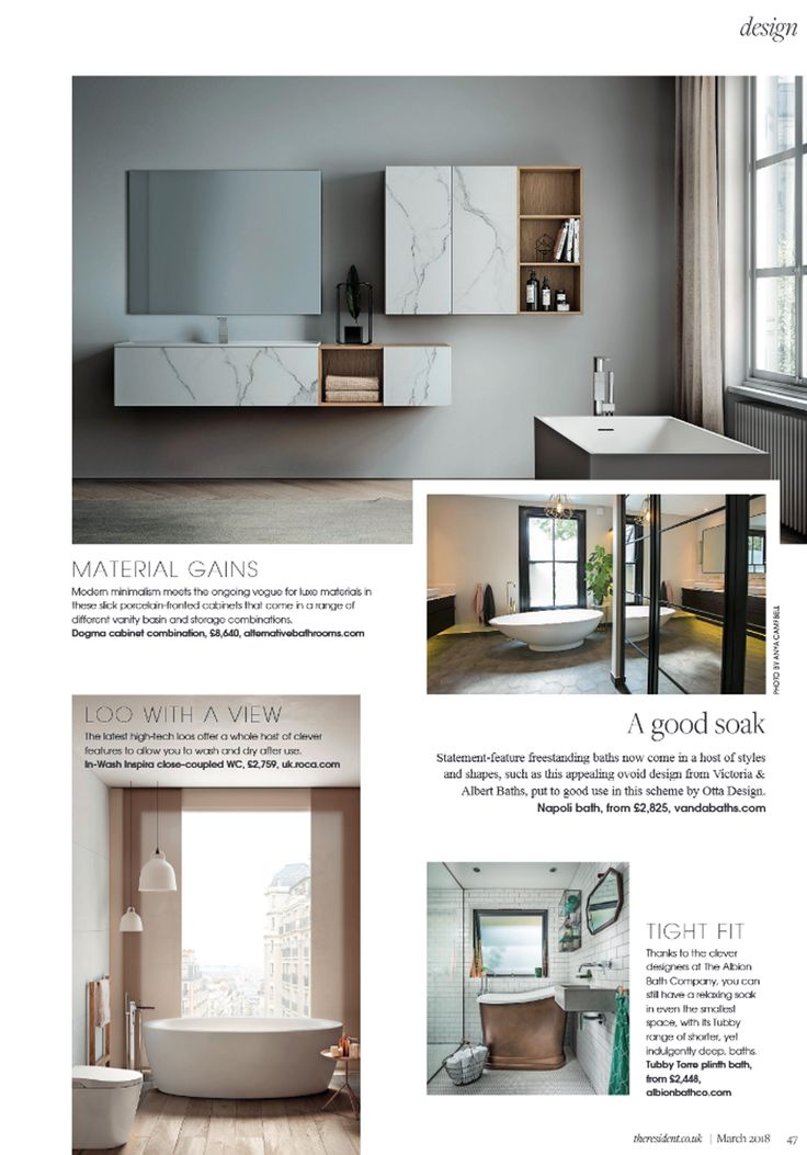 Modern minimalism meets the ongoing vogue for luxe materials in these slick porcelain-fronted cabinets that come in a range of different vanity basin and storage combinations from the Dogma collection at Alternative Bathrooms. http://www.alternativebathrooms.com/ SW Resident March 2018