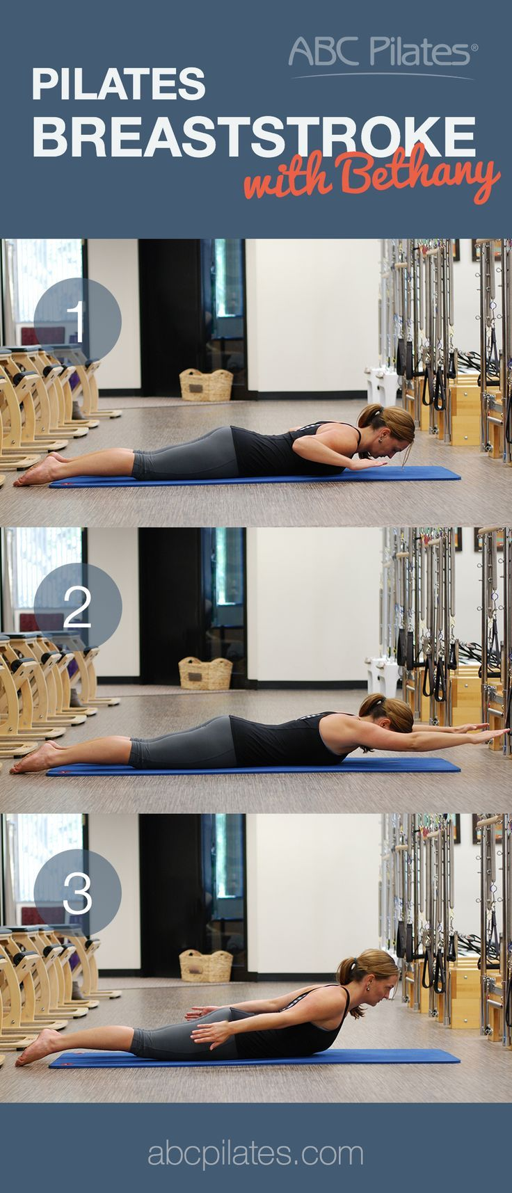The Pilates Breaststroke is a great exercise for correcting poor posture and the pain it comes with! ABC Pilates instructor Bethany shows you how. #Pilates #exercise #pilatesexercise #workout #fitness #yoga #ABCPilates #josephpilates #healthy