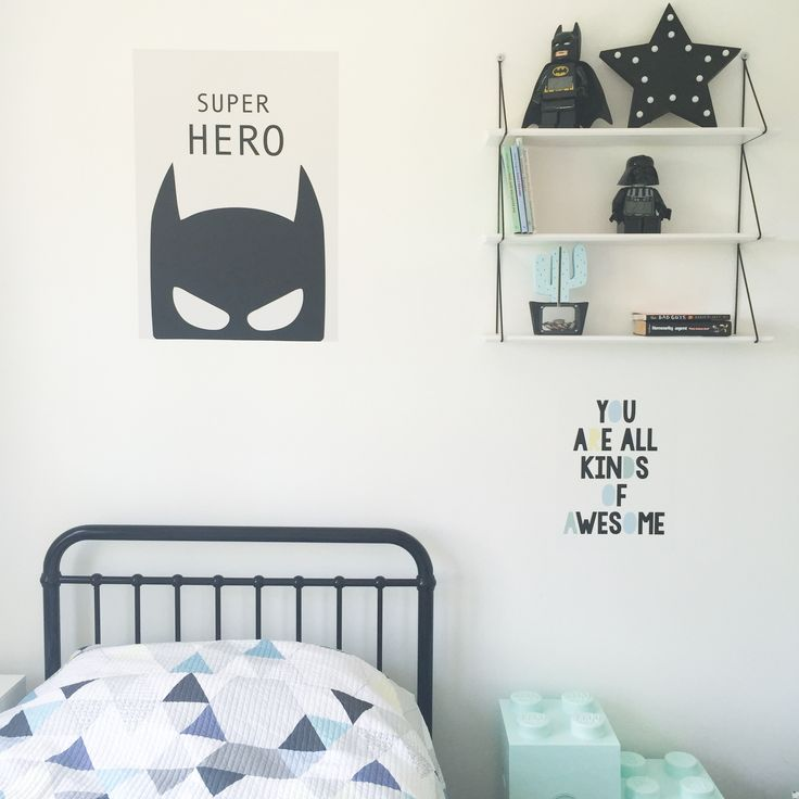 Cool superhero room. Wall sticker posters. Removable and reusable.