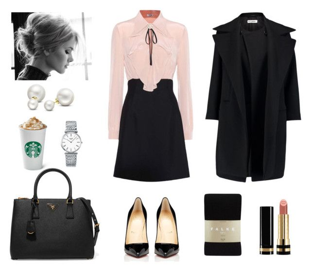 """Work Chic"" by lilasiaan on Polyvore featuring Christian Louboutin, Miu Miu, Prada, Jil Sander, Falke, Gucci, Allurez and Longines"