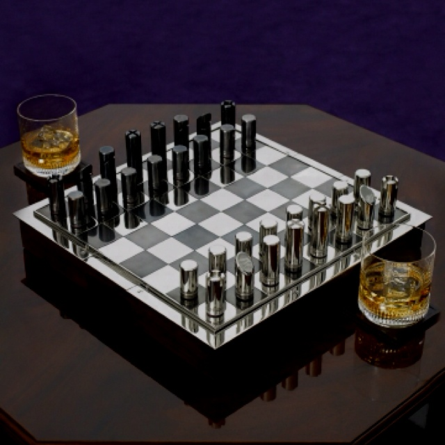 Ralph Lauren Hammond Chess set  A sleek and modern rendition of a classic favorite, our Hammond chess set is crafted from rich leather and blackened nickel -- an ideal gift for the game aficionado.
