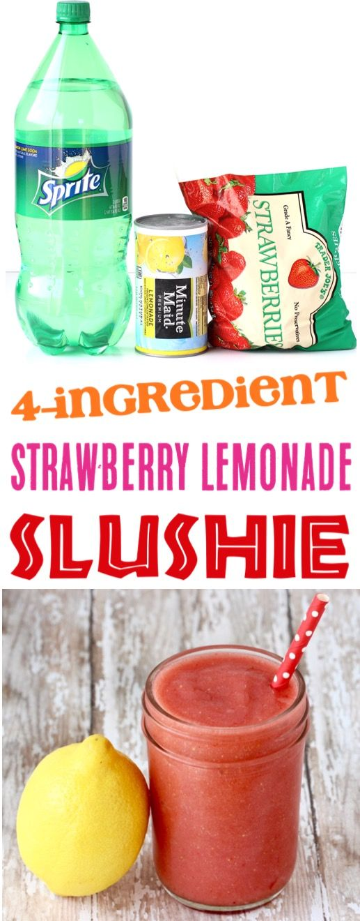 Frozen Strawberry Lemonade Recipe!  Real strawberries make these slushies irresi…