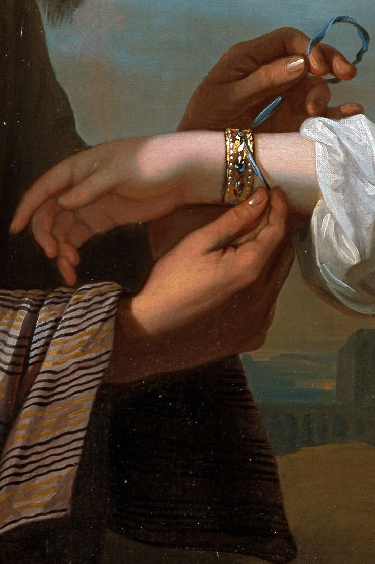 """soyouthinkyoucansee:  """"Isaac's servant tying the bracelet on Rebecca's arm (detail) 1775"""" Benjamin West for Malin James*-erotica"""