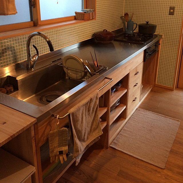 キッチン 無印ゴミ箱 キッチン ステンレス天板 造作キッチン などの