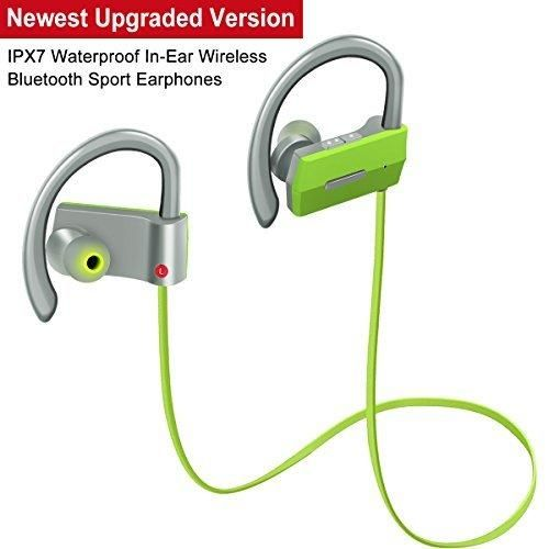 Bluetooth Headphones Headset In-Ear Wireless Sport Earphones @SiFree Soft Silicone Earhooks Noise Cancelling Stereo Headset with Mic Sports Headphones for Running and IPX7 Waterproof