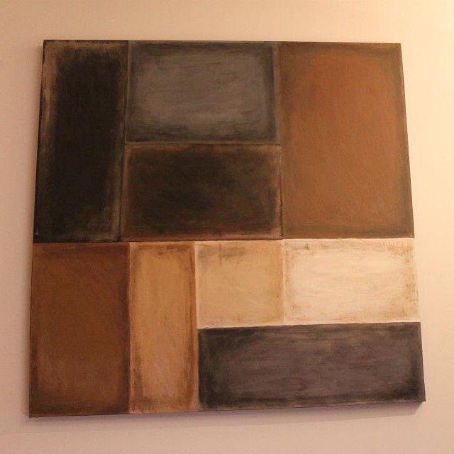 Lerret på tynn ramme 80x80cm i fargeskalaen svart, grå, brun, beige, hvit, laget i innflyttingsgave til en venn for noen år tilbake. #acrylic #acrylic #artwork #akrylmaling #paint #paintings #malerier #maleri #diy #housewarminggift