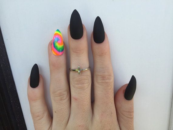 stiletto tie dye nails | 24 Tie Dye and Matte Black Stiletto nails, Neon Festival nails, matt ...