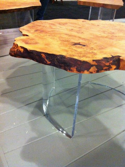 Our 1970 table at IDSWest 2013. Aged cedar burl juxtaposed with a clear acrylic base.