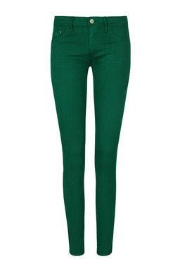Pantaloni Skinny Verdi a Vita Bassa